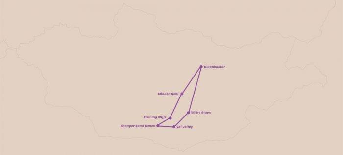Reisroutes Mongolie