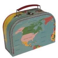 Koffertje met wereldkaart