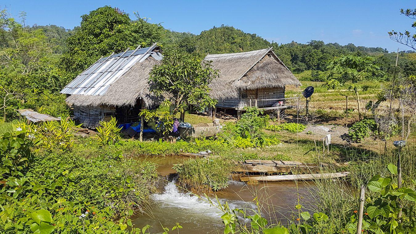 Pitoreske bamboehuizen op de trekking in Hsipaw