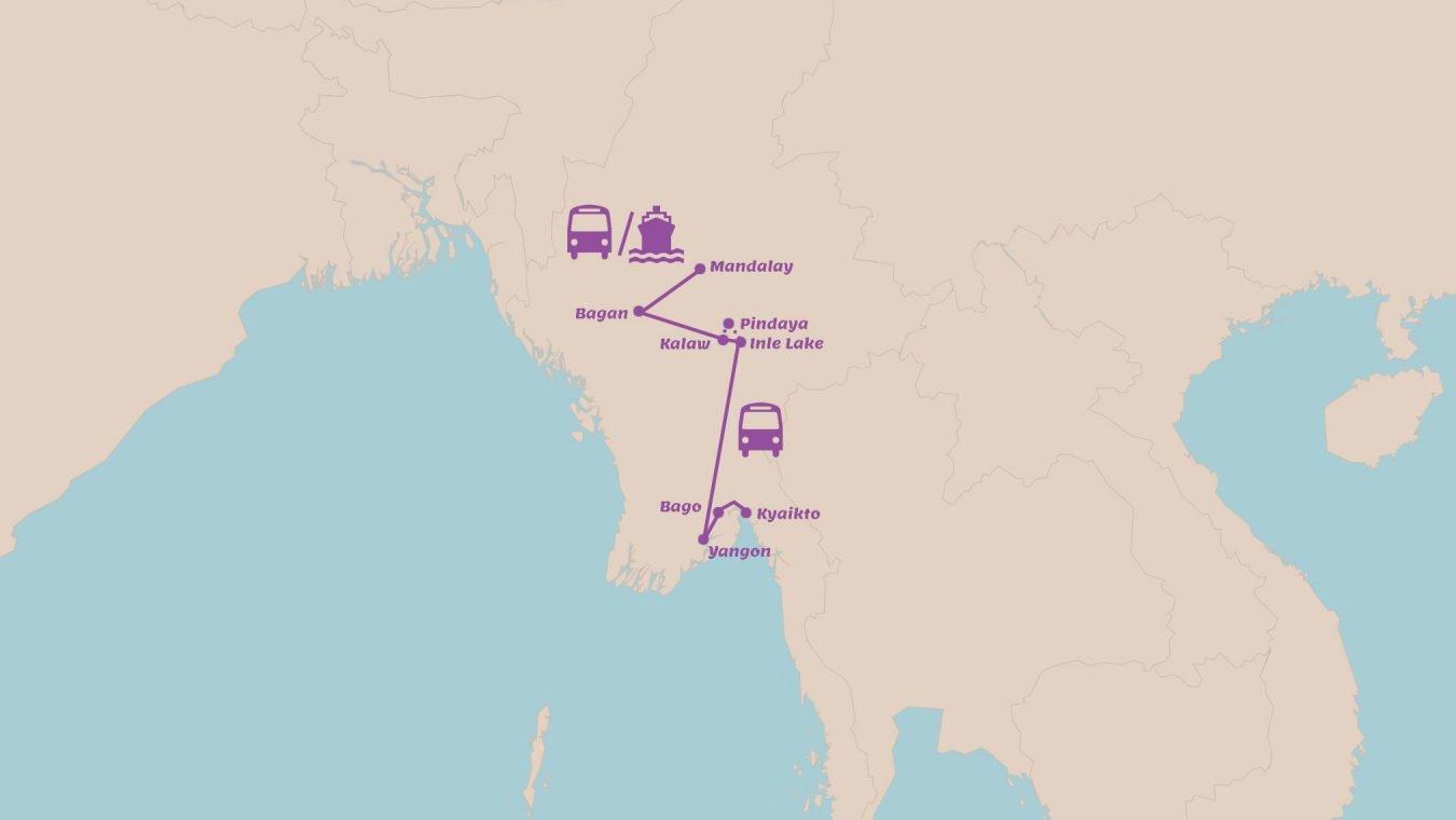 Rondreis Myanmar in 2 weken Van Mandalay naar Yangon