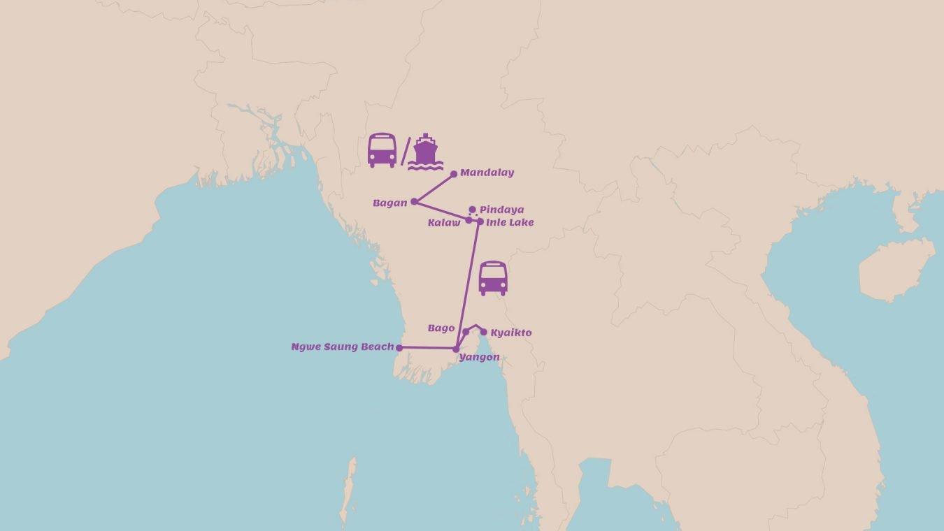 Rondreis Myanmar in 3 weken Highlights met Kyaikto en tropisch strand