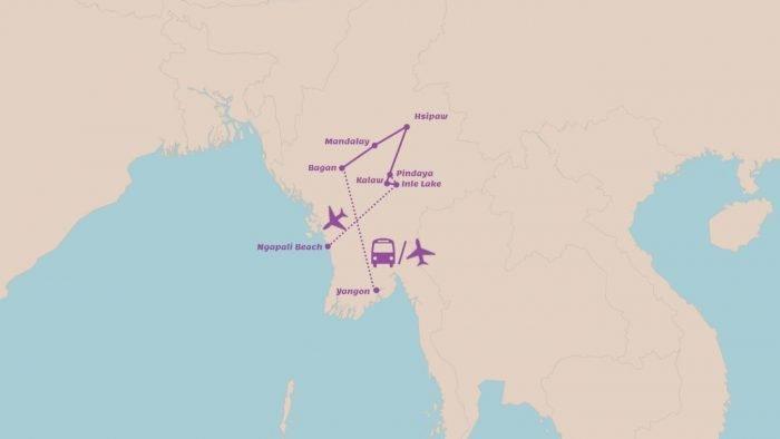 Rondreis Myanmar in 3 weken Highlights met trekking en tropisch strand