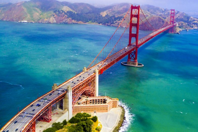 De Golden Gate Bridge in San Francisco Amerika