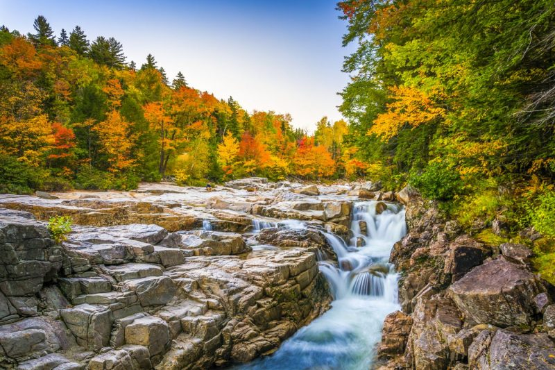 Herfstkleuren en waterval bij de Rocky Gorge in White Mountain National Forest - New Hampshire