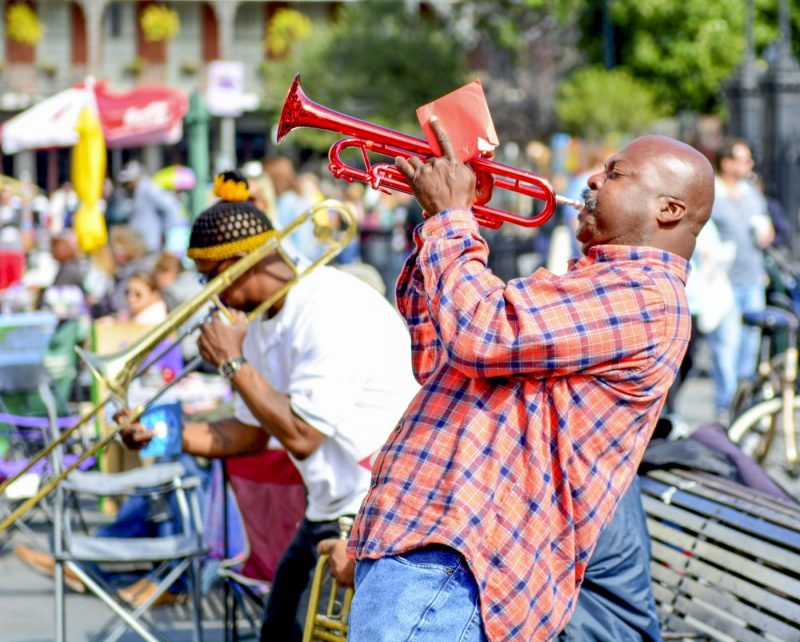 Lokale jazz band treed op bij Jackson Square in de French Quarter van New Orleans
