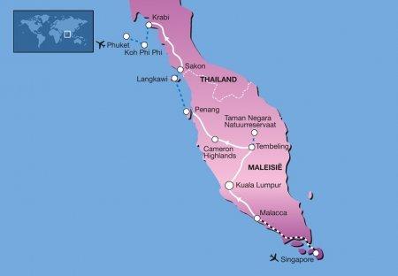 Privé rondreis 22 dagen Singapore - Maleisië - Thailand kaart