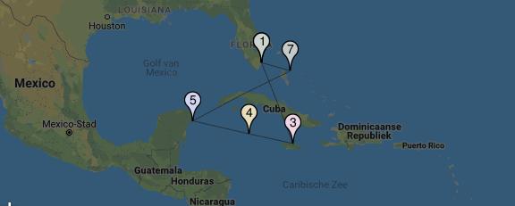 9-daagse cruise Westelijke Caribbean vanaf Miami route