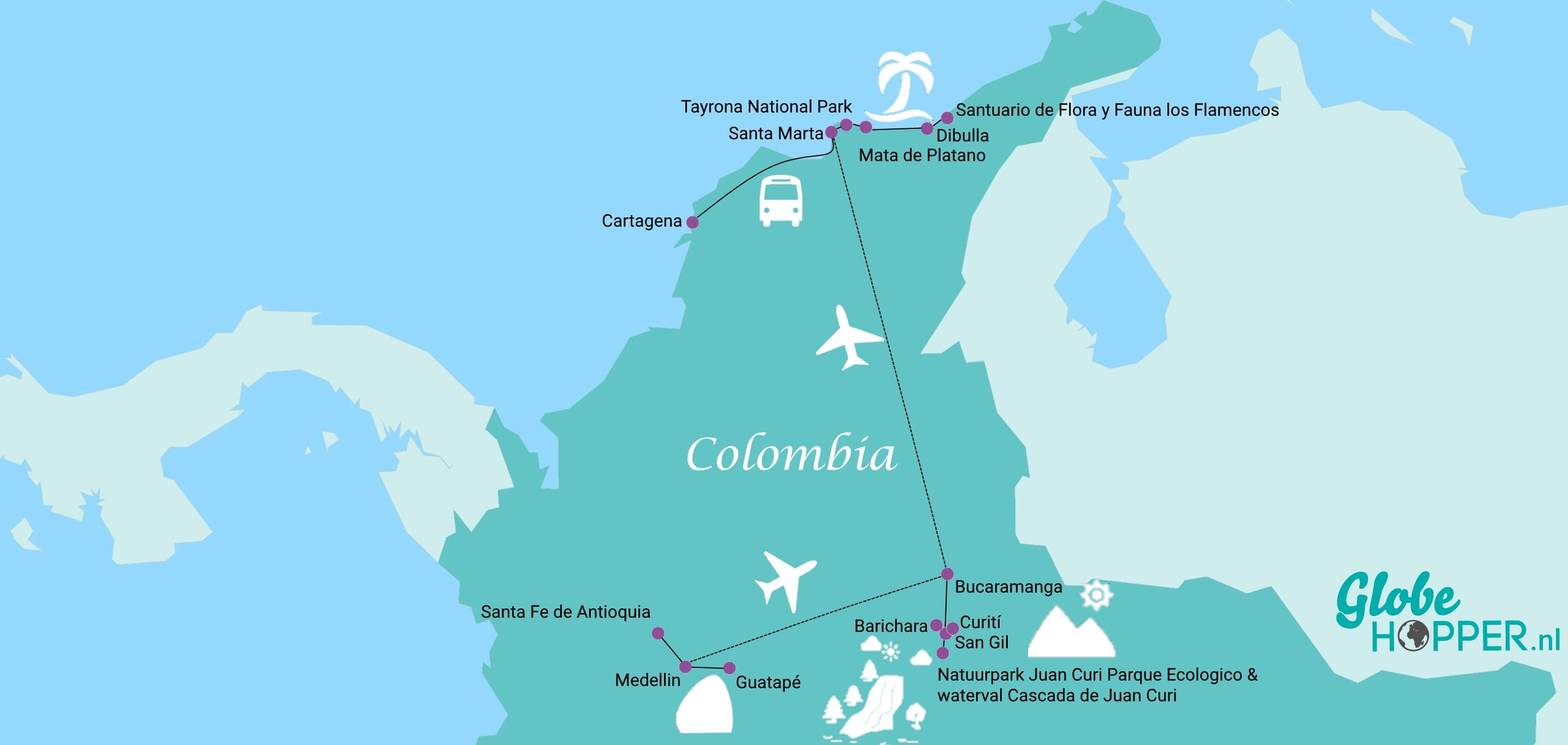 De reisroute Colombia uit Wie is de Mol 2019