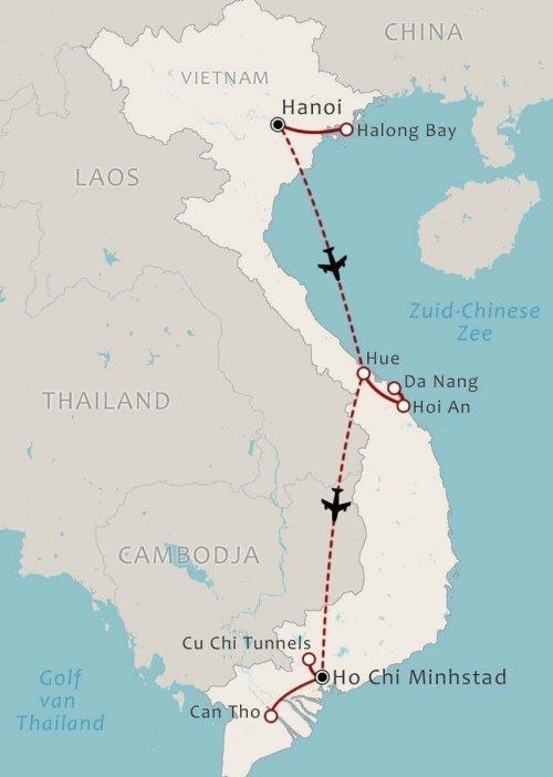 14-Daagse individuele romantische rondreis Vietnam route