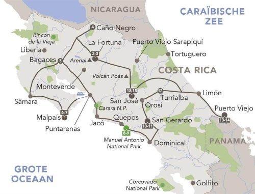 16-daagse individuele auto rondreis Costa Rica route