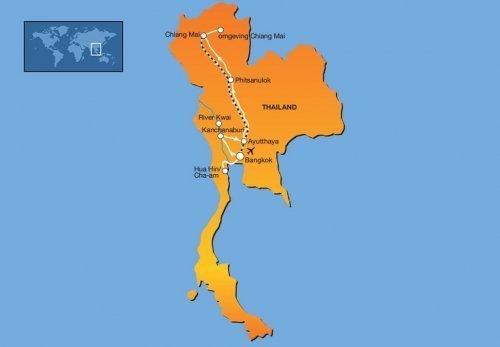 15-daagse familie groepsreis Noord-Thailand route