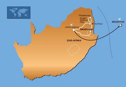 15-daagse familie groepsreis Zuid-Afrika & Mauritius route