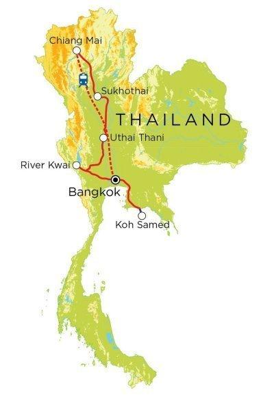 Gezinsvakantie Thailand 15 dagen groepsreis route