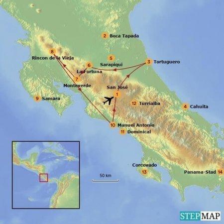 16-daagse Costa Rica privé fly-drive met kinderen route
