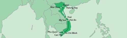 22 daagse privérondreis Vietnam route