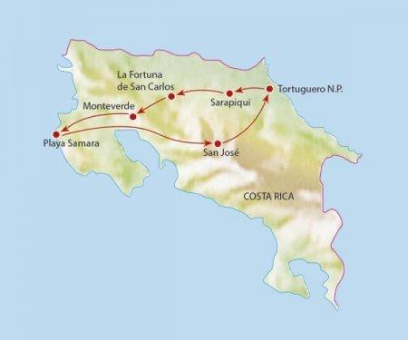 Familie groepsreis Costa Rica 15 dagen route