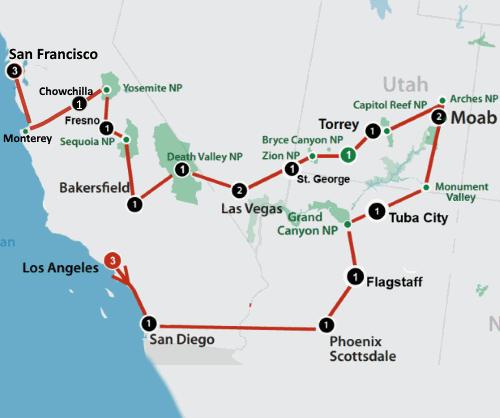 Individuele autorondreis 23 dagen Zuidwest-Amerika route
