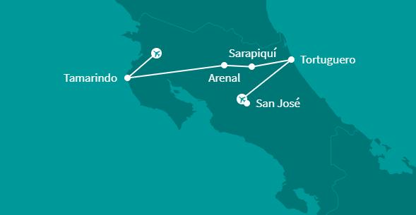 Individuele fly-drive gezinsvakantie Costa Rica 15 dagen route