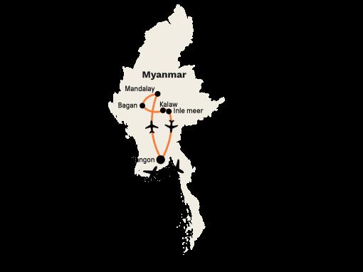 Privé rondreis Myanmar 15 dagen route