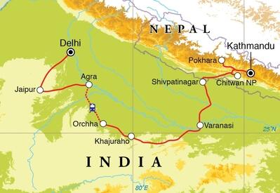 Groepsrondreis India & Nepal 22 dagen route