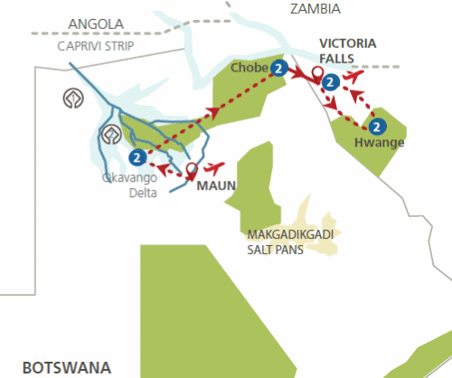Privé rondreis Botswana en Zimbabwe 11 dagen Fly-In Safari route