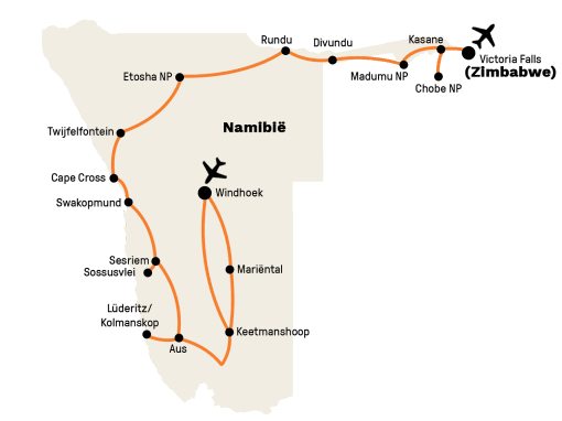 Privé rondreis Namibië, Botswana en Zimbabwe 24 dagen route