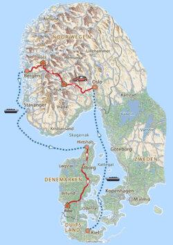 13-daagse familie autorondreis Noorwegen en Denemarken route
