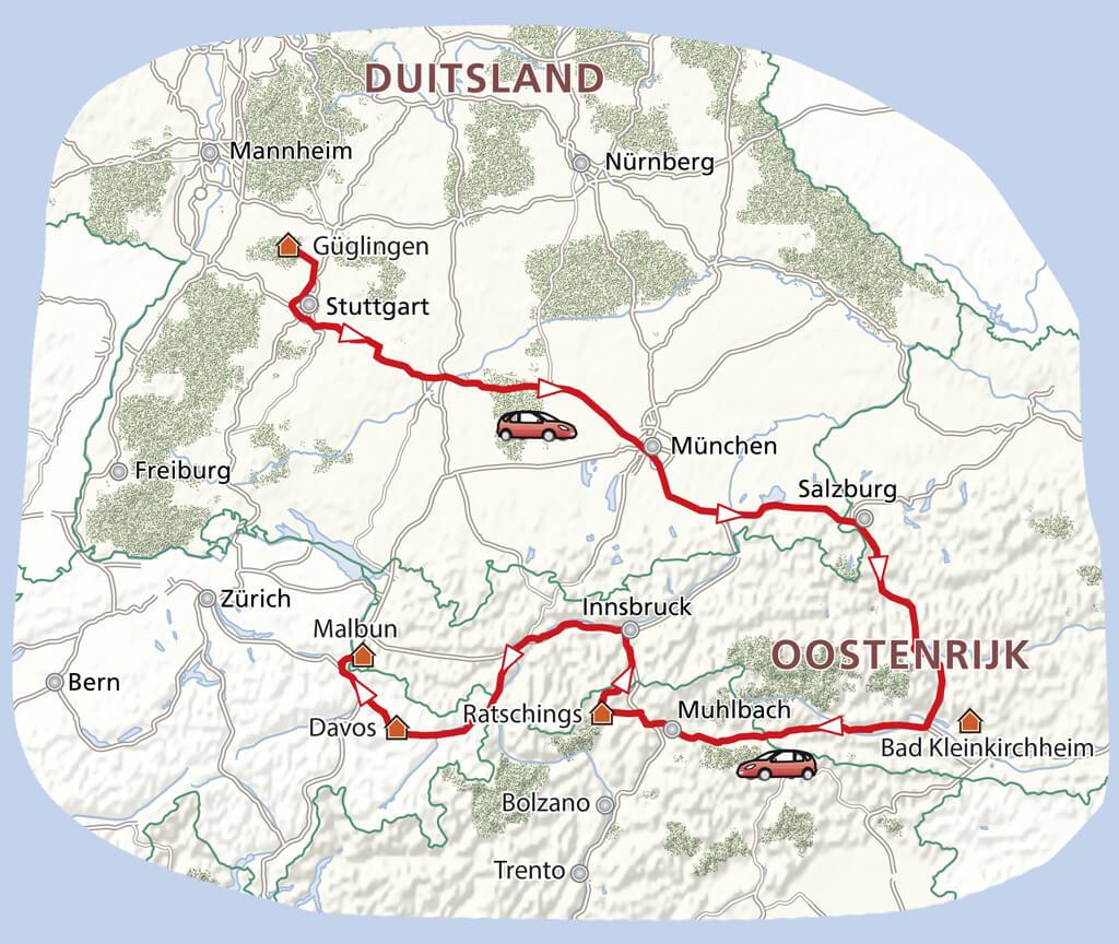 15-daagse auto familierondreis Duitsland, Oostenrijk, Italië, Zwitserland en Liechtenstein route