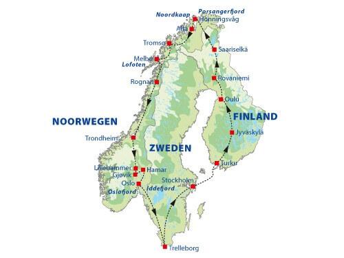 15-daagse groepsrondreis Finland, Noorwegen & Zweden route
