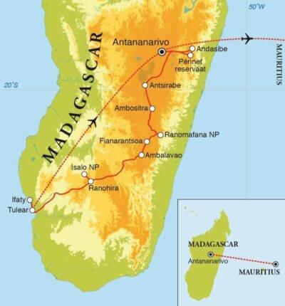 Groepsreis Madagascar & Mauritius 23 dagen route