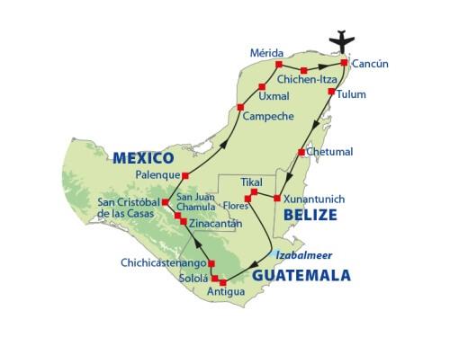 Groepsrondreis 19 dagen Mexico, Belize en Guatemala route