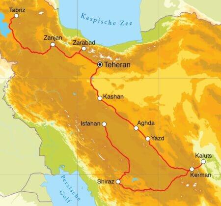 Groepsrondreis Iran 21 dagen route