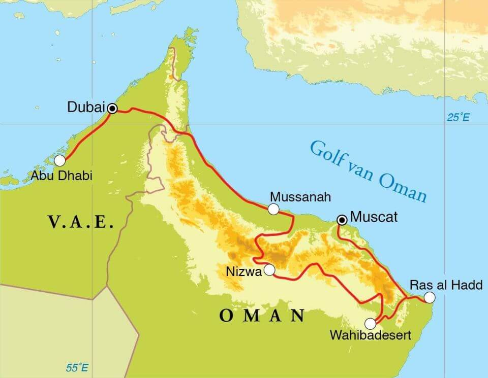 Groepsrondreis Oman en Dubai 12 dagen route