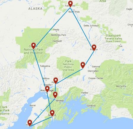 Individuele autorondreis Alaska 18 dagen - Verenigde Staten route