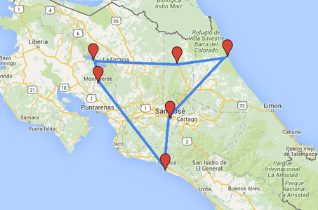 Individuele familie autorondreis Costa Rica 17 dagen route