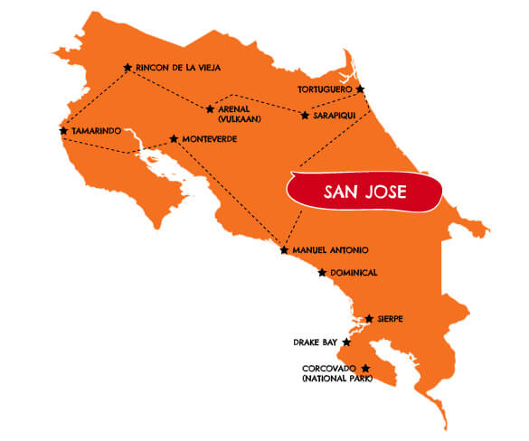 Individuele familie autorondreis Costa Rica 19 dagen route