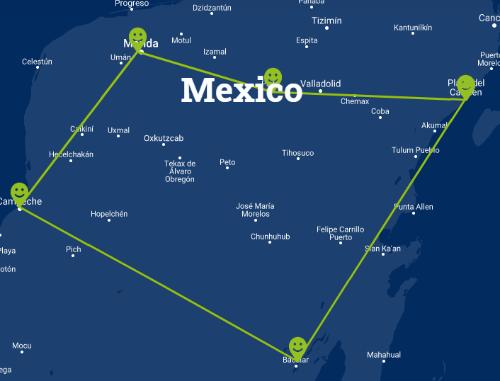 Individuele fly-drive familierondreis Mexico 15 dagen route