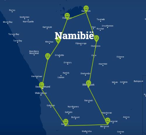 Individuele fly-drive familierondreis Namibië 16 dagen route