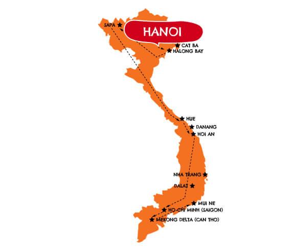 Privé familiereis Vietnam 21 dagen route