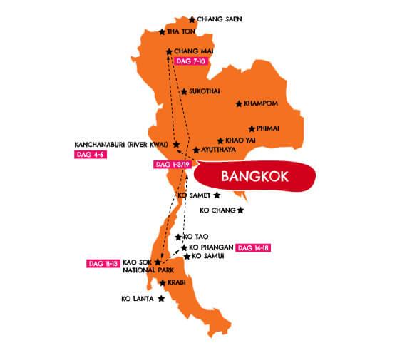 Privé gezinsreis Thailand 19 dagen route