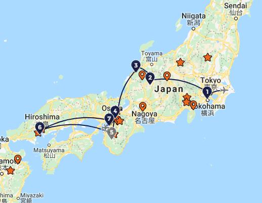 individuele rondreis Japan 15 dagen route
